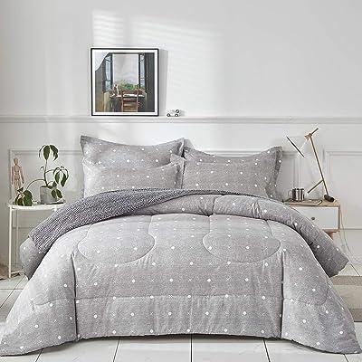 Uozzi Bedding Comforter Set Twin Size Gray Dots and Cross Print Reversible Down Alternative 800 TC Kids Duvet Sets 1 Microfiber Comforter with 2 Pillow Shams: Home & Kitchen