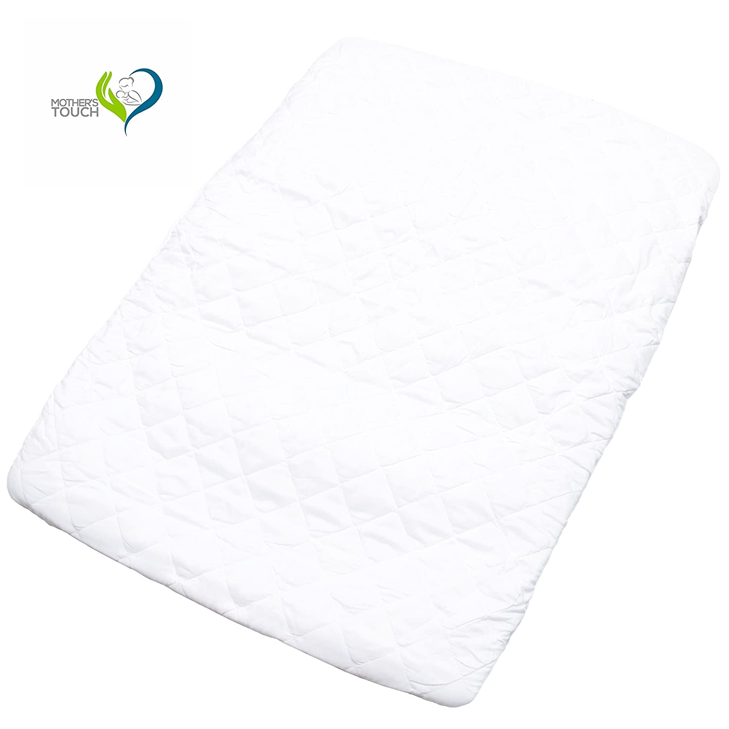Waterproof Mothers Touch Pack N Play Padded Crib Mattress Cover Play Yards and Foldable Mattresses Fits All Baby Portable Cribs Dryer Safe and Hypoallergenic