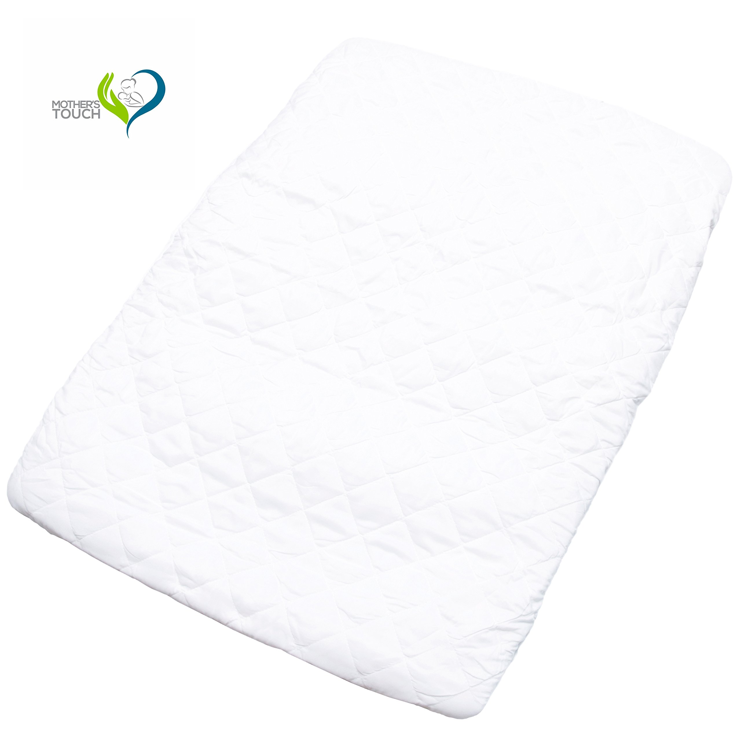 Mother's Touch Pack N Play Padded Crib Mattress Cover - Fits All Baby Portable Cribs, Play Yards and Foldable Mattresses - Waterproof, Dryer Safe and Hypoallergenic