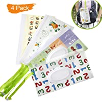 Salare 4PCS Travel Wipes Case Premium Baby Wet Wipe Pouch Eco-Friendly Wipe Dispenser for Baby, Great for Travel Or Picnic