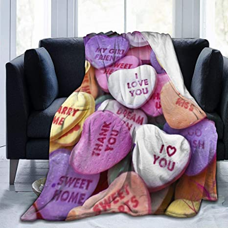 Amazon Com Custom Fleece Bed Blankets Cartoon Candy Heart Valentine House Sign Love Phrase Halloween Throw Blankets Spring Super Cozy Gifts Blanket For Kids Sofa Holiday Home Kitchen