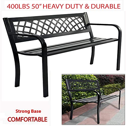400 Lbs 50 Sturdy Comfortable Garden Bench Patio Outdoor Porch Chair Patio Park Seat Backrest Steel Frame Endurance 2 Seat Loveseat Deck Ideal for Along A Path Backyard Path Under Tree Home Garden