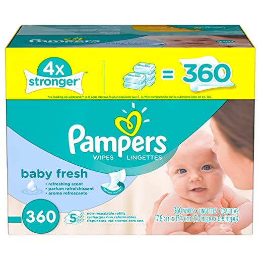 Pampers Baby Wipes Baby Fresh 5X Refill, 360 count