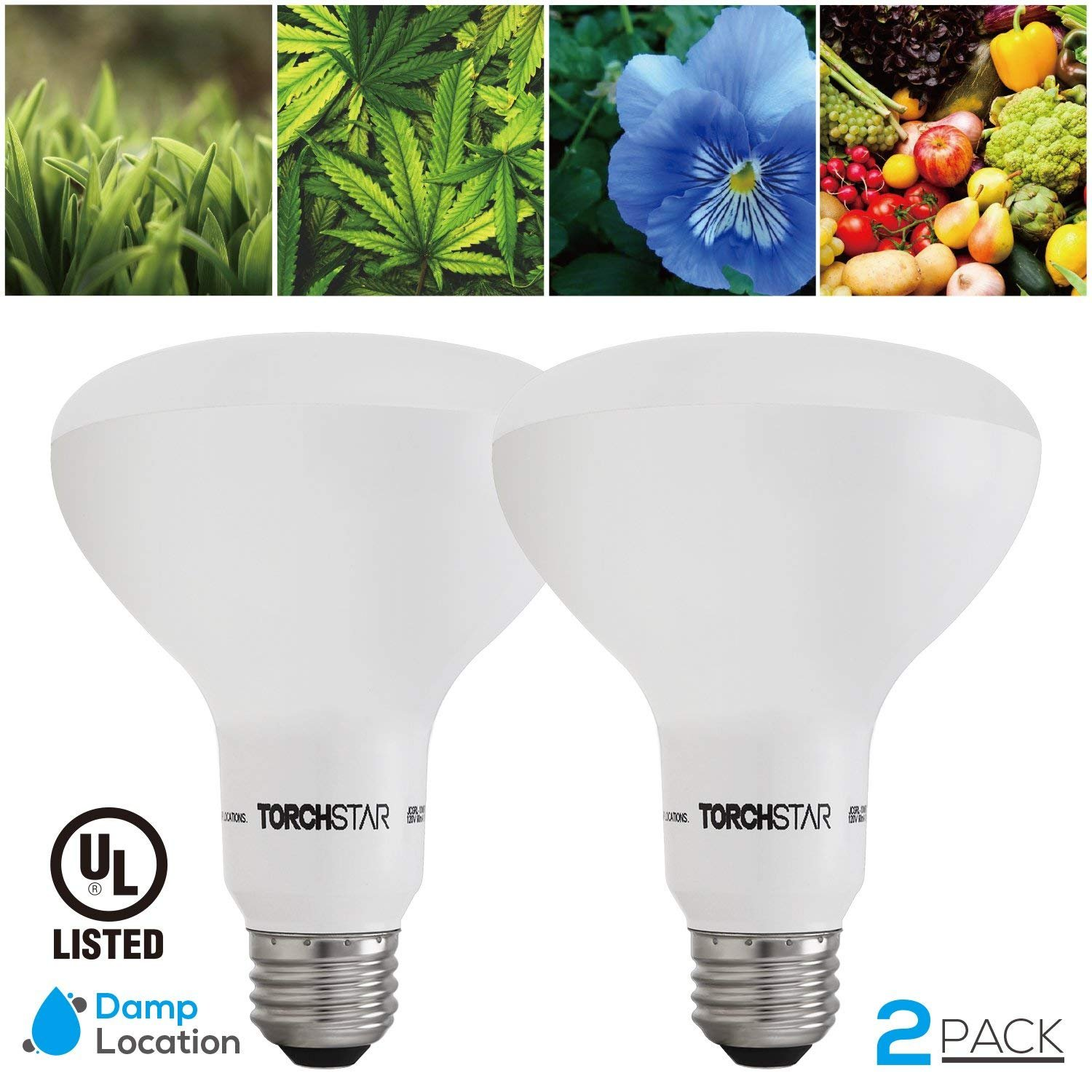 Grow Light Bulb, 10W BR30 Dimmable LED Plant Light UL-listed for Indoor Planting, Gardening, Green House, 120° Flood Light, 2 PACK