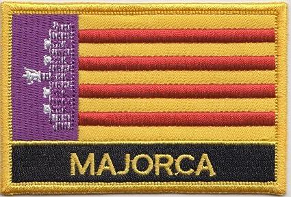 Parche rectangular bordado con la bandera española de las Islas Baleares Mallorca
