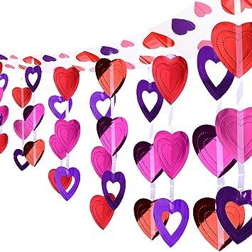 KUUQA 12 Fuß Valentinstag Herz Girlande Valentinstag Decke Dekoration  Herzform Hängen Liefert Valentinstag Zimmer Dekoration Gunst