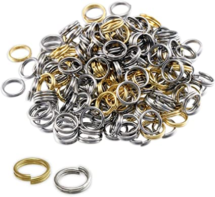 Packet 350 Golden Plated Iron Round Split Rings 0.7 x 6mm HA11635