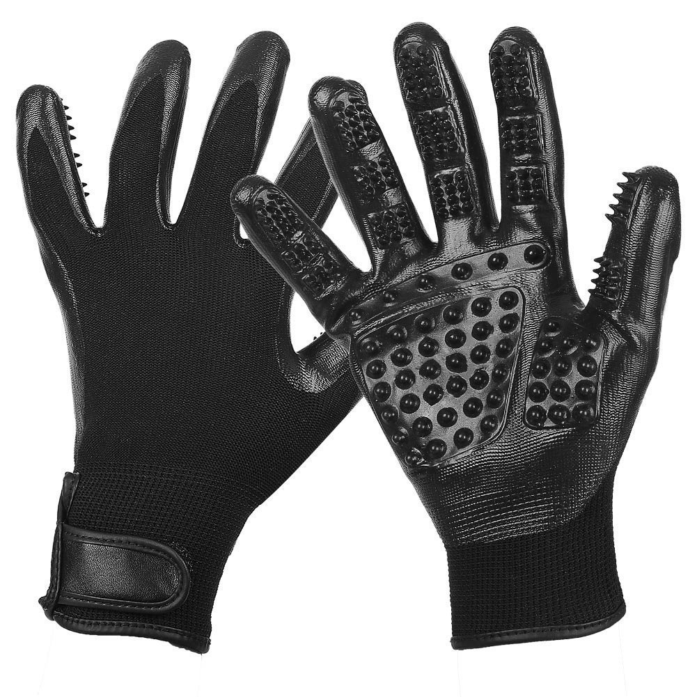 Pet Hair Removal Gloves Massage Hair Removal Brush, High Efficiency Pet Grooming Gloves 1 Pair for Long Hair and Short Hair,Black