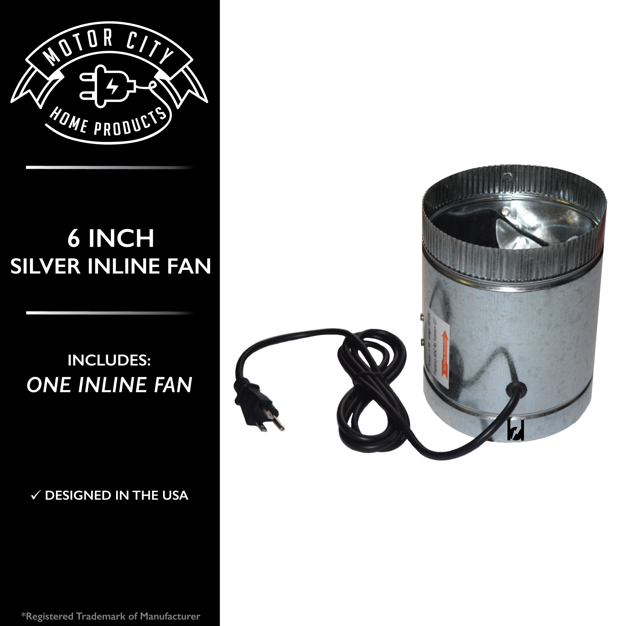 Motor City Home Products 6 Inch Silver Inline Fan for Odor Emission Control in Grow or Smoke Room # DF-6. A Brand Exclusive Offering. (1) by Motor City Home Products