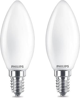 Philips 8718696751367 Pack de 2 bombillas LED Vela E14, 4.3 W ...