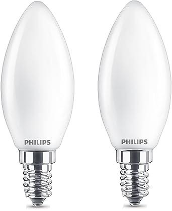 Philips 8718696751367 Pack de 2 bombillas LED Vela E14, 4.3 W, Blanco