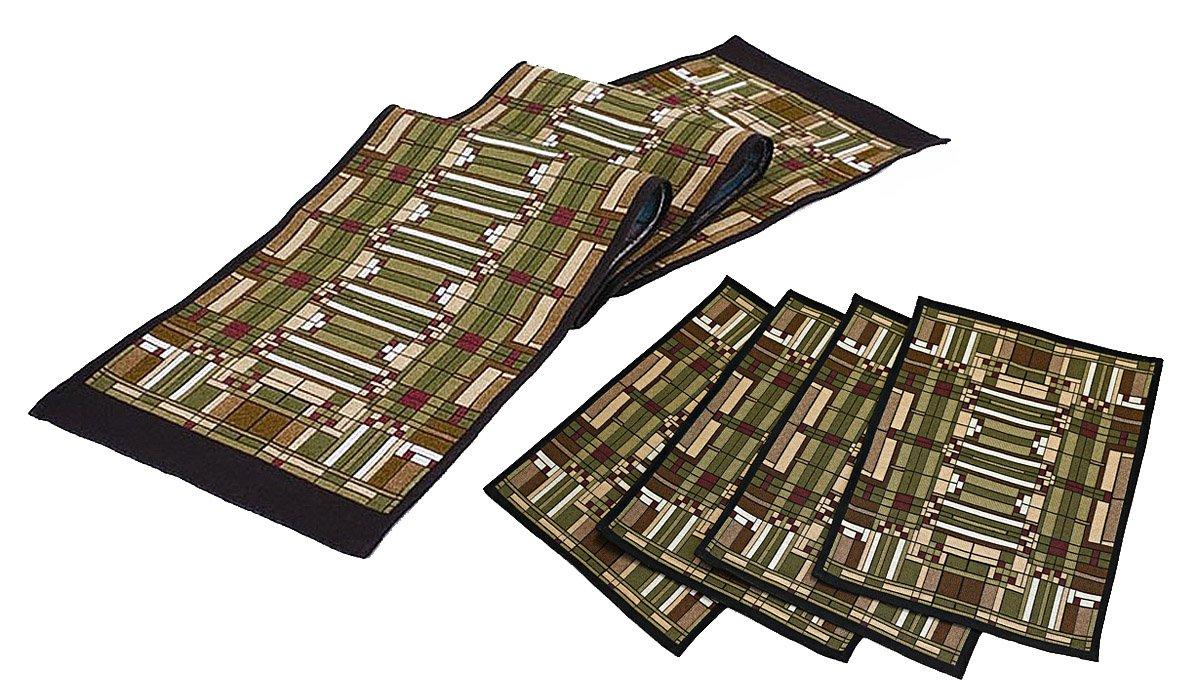 Frank Lloyd Wright Oak Park Skylight Tapestry Table Runner & 4 Placemats Set