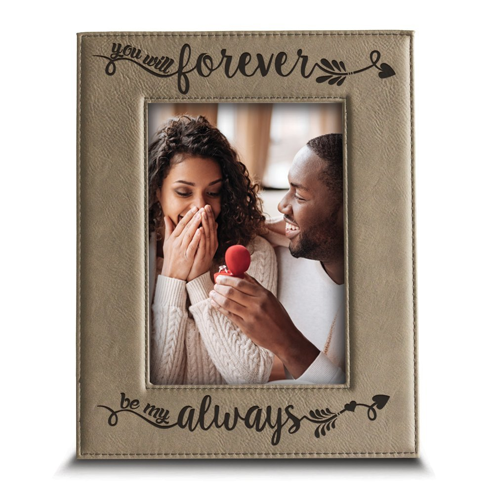 BELLA BUSTA - You Will Forever, be My Always Picture Frame - Engraved Leather Frame Gift for Couple (4''x 6'' Vertical (Beige))