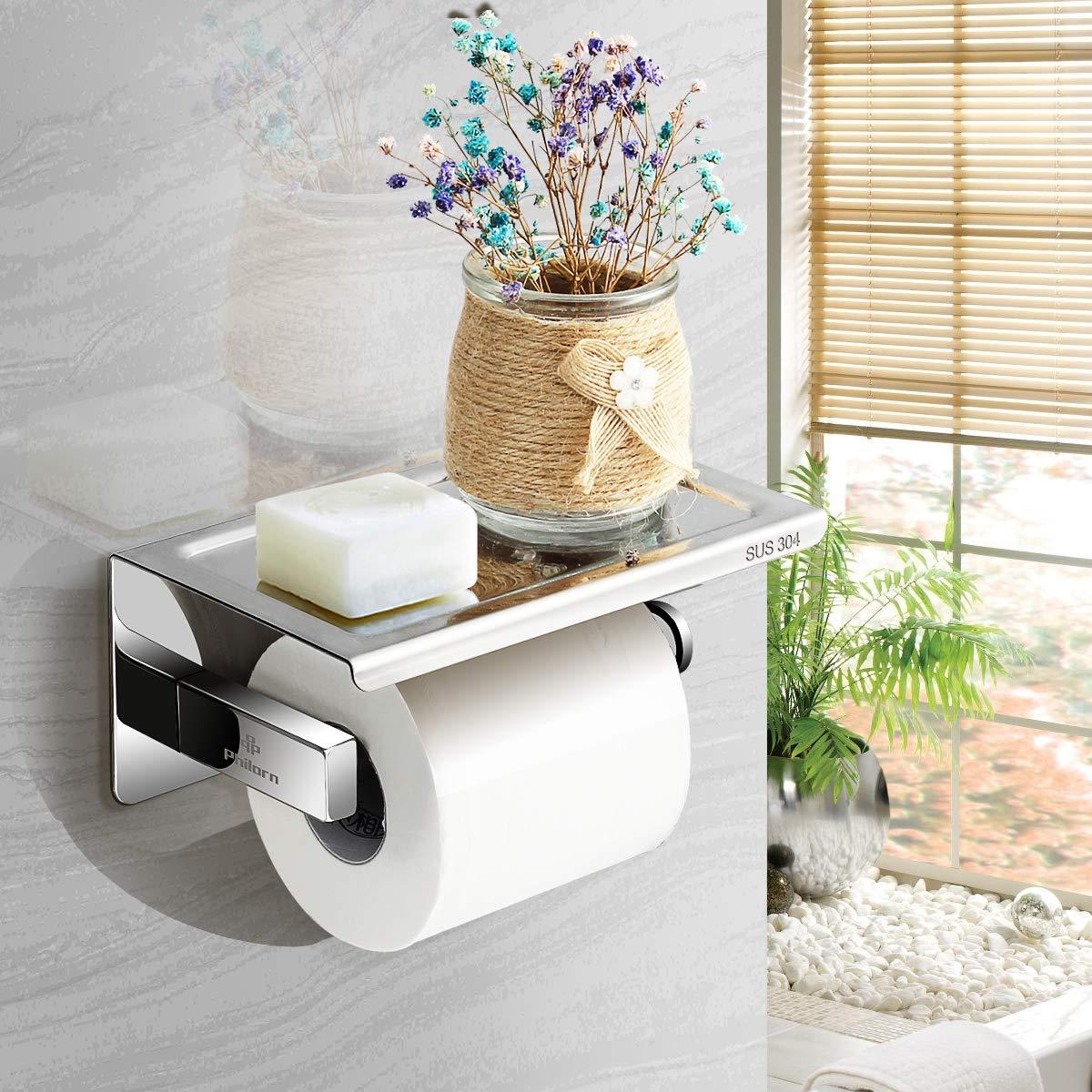 Philorn Porte-Papier Toilette Mural, Derouleur Papier WC avec ... 75d71f581afd