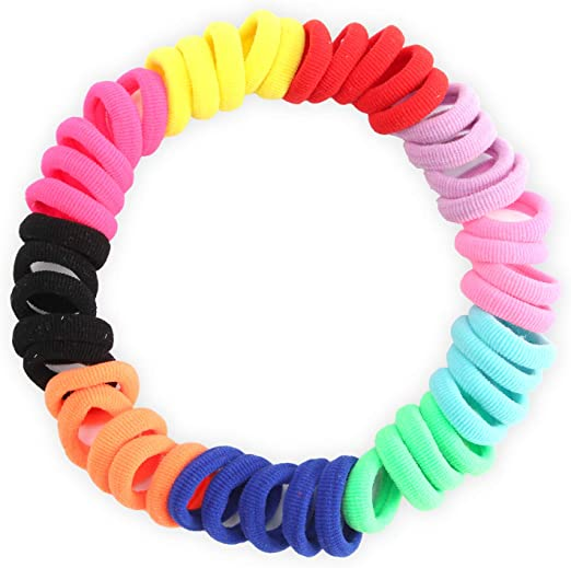 Hoyols Cotton Hair Bands Elastic Hair Ties Seamless Stretch No Metal Gentle for