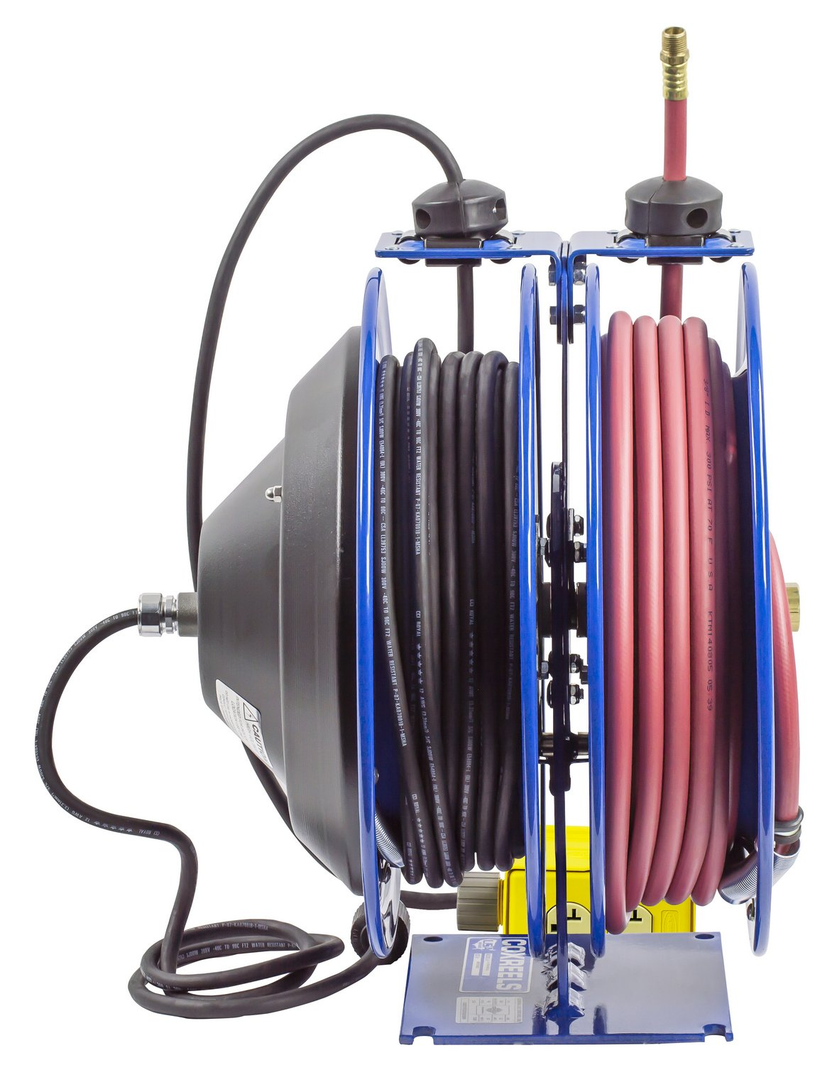 Coxreels C-L350-5012-B Combo Air and Electric Hose Reel with Quad Outlet Attachment, 3/8'' Hose ID, 50' Length by Coxreels (Image #6)