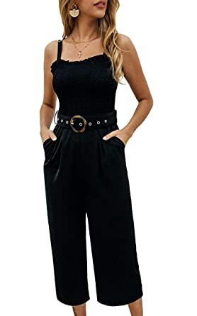 6a05988ef24f1 ECOWISH 2019 Womens Sexy Strap Backless Tie Waist Fashion Jumpsuit Romper  with Pockets Black Small