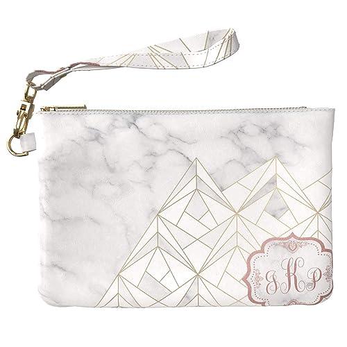 03bcbacd6323 Lex Altern Makeup Bag 9.5 x 6 inch Custom Monogram Polygonal Marble ...