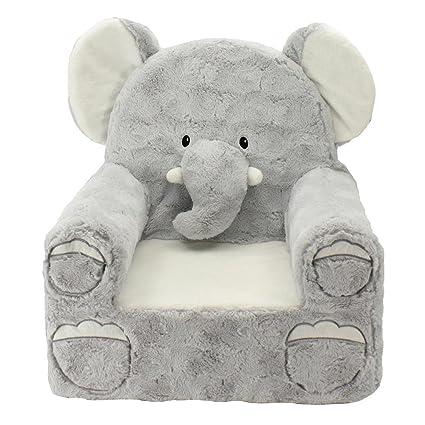 Animal Adventure Sweet Seats Plush Elephant Chair Kidsu0027 Furniture   Gray