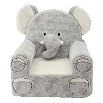 Animal Adventure Sweet Seats Plush Elephant Chair Kids Furniture - Gray