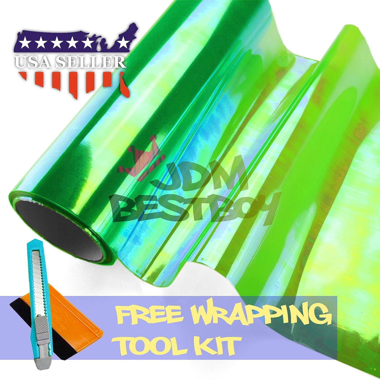 1FT x 1FT JDMBESTBOY Free Tool Kit 12x12 Chameleon Neo Green Color Headlight Taillight Fog Light Side Marker Vinyl Tint Film Self Adhesive