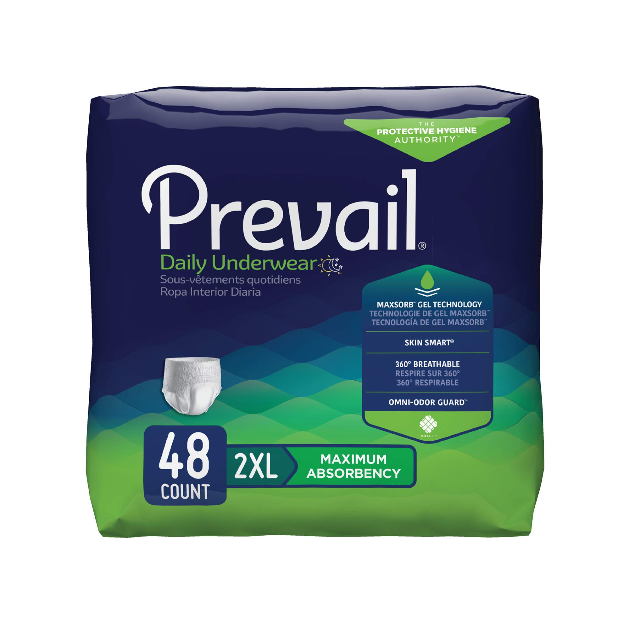 Prevail Maximum Absorbency Incontinence Underwear 2X-Large 12 Count (Pack of 4) Breathable Rapid Absorption Discreet Comfort Fit Adult Diapers by Prevail