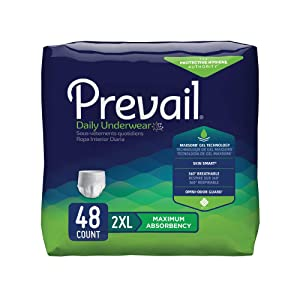 Prevail Maximum Absorbency Incontinence Underwear XX-Large 12 Count (Pack of 4) Breathable Rapid Absorption Discreet Comfort Fit Adult Diapers