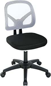 Home Office Chair Ergonomic Mesh Computer Chair Rolling Adjustable Desk Chair with Lumbar Support Swivel Cute Task Chair for Adults Women Girls(White)