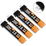 RCruning 4pcs 300mAh HV 1S Lipo batería 30C 3.8V para Tiny Whoop JST-PH 2.0 Powerwhoop Connector