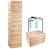 Giant Tumbling Timber Toy - 60 Jumbo Wooden Blocks Floor Game for Kids and Adults, w/ Storage Crate - Premium Pine Wood, Life Size- Grows to Over 5-feet While Playing