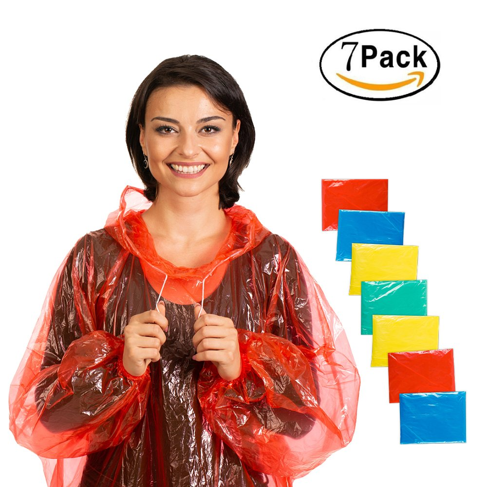 Disposable Rain Poncho Plastic Waterproof - With Drawstring Hood And Elastic Sleeve - Adults Rain Ponchos 50% Thicker 7 or 5 PACK - Water Poncho for Men Women Child or Kids PAXITO