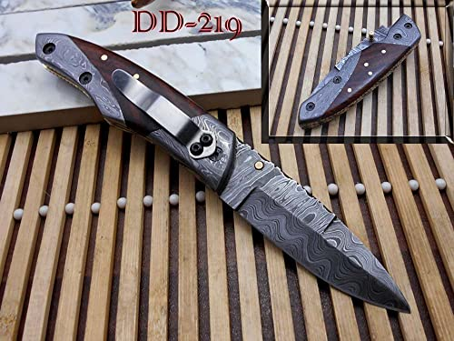 8 Long Folding Knife with Pocket Clip, Hand Forged Damascus Steel 3.5 Blade. Available in Walnut Wood, Bull Horn, Ram Horn, Red Blue Scale with Damascus Bolster, Cow Hide Leather Sheath
