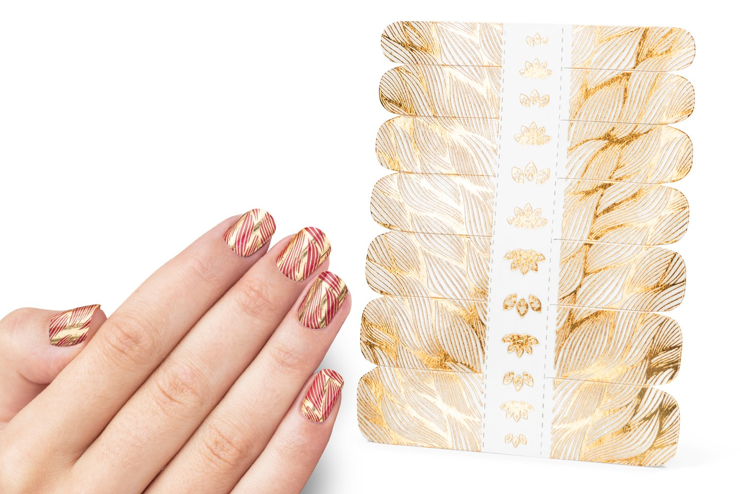 Nail Decals, Nail Tattoos Stickers, Water Nail Decals, Gold and Colorful Designs, Very easy to use for manicure. Each pakage consist Decals for 14 fingers. Brand MneTatu (Weaving)
