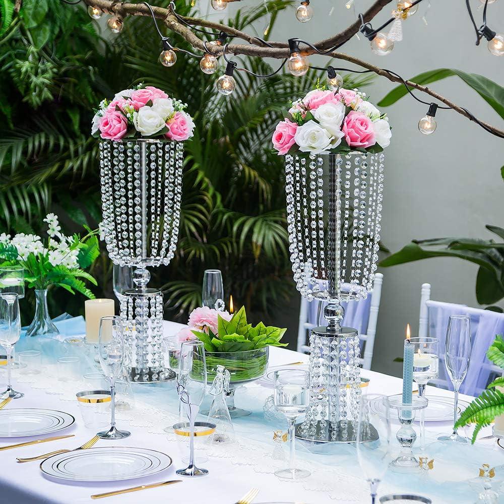 2 Piezas Flor Artificiales, 15 Cabezas Rosas Plástico con Base, Adecuadas para el Estante Central Flores de Nuestra Tienda para Fiestas Decoración del Hogar(Rosa y Blanco): Amazon.es: Hogar