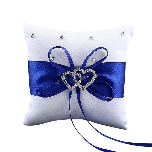 Westeng Cojín para anillos de boda almohada portador double-heart con lazo y anillos anillos de boda decoración 10 x 10 cm, raso, azul, mediano
