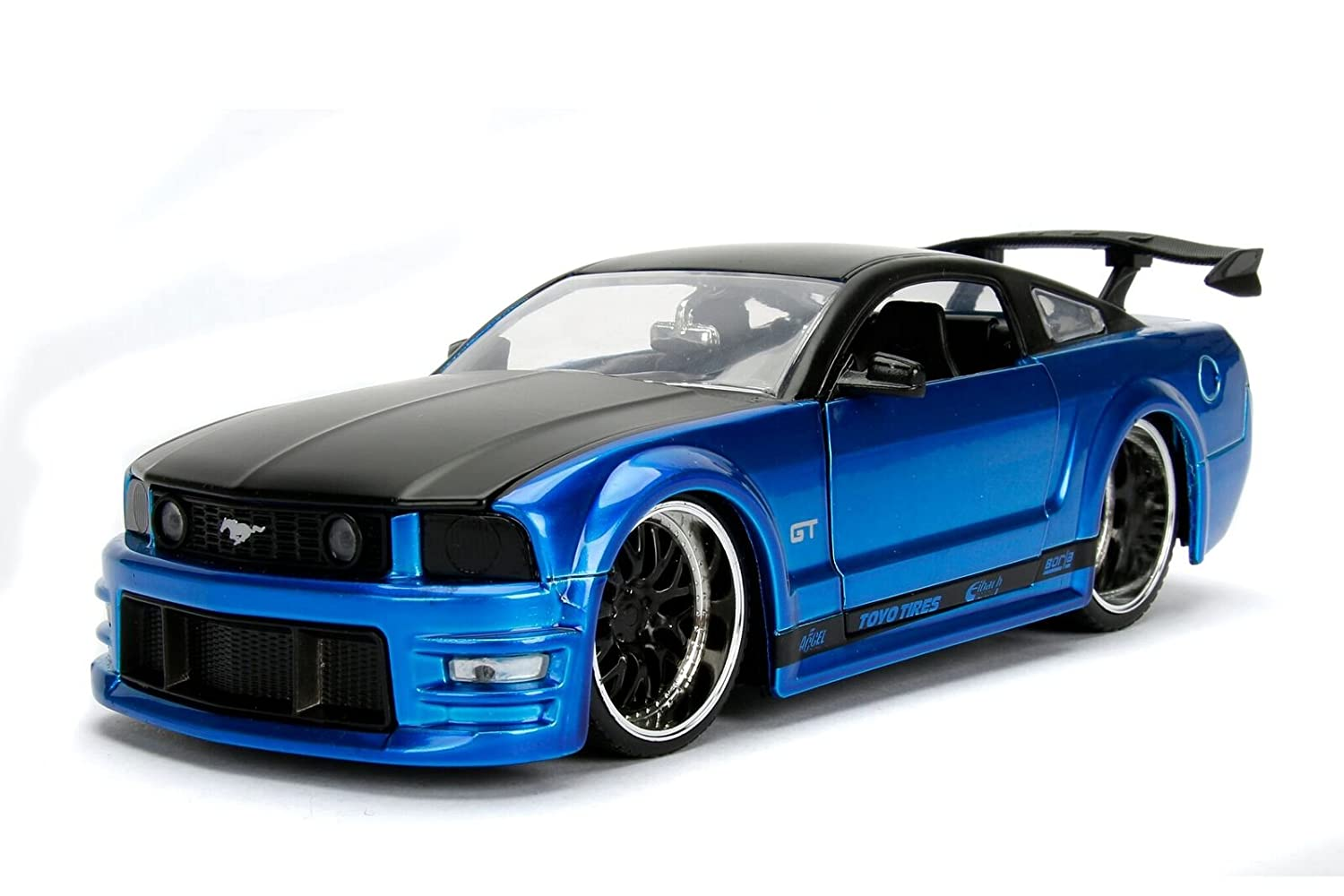 Jada Toys- Ford-Mustang Gt-2006 Voiture Miniature de Collection, 99974BL-99973, Bleu Noir