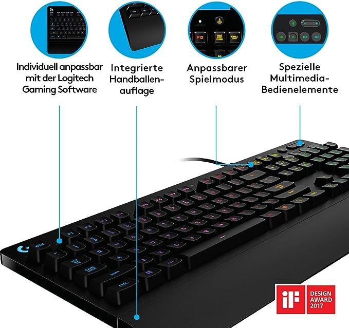 Logitech G213 Prodigy Teclado Gaming, Retroiluminado RGB LIGHTSYNC, Resistente a Salpicaduras, Personalizable, Controles Multimedia, Disposición ...