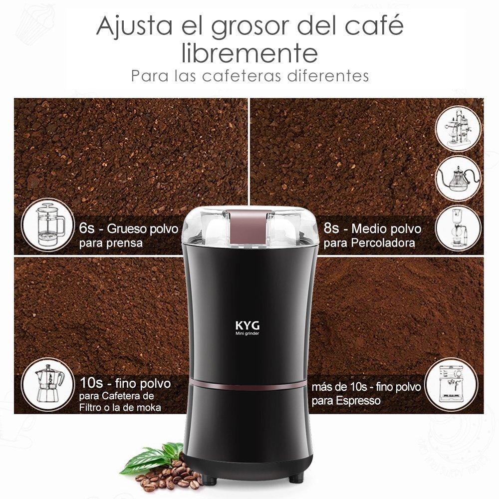Molinillo Eléctrico de Café Semillas Especias Frutos Secos Molinos de Cuchillas Acero Inoxidable de 300W Potencia Muele Rápido Viene con Cepillo para ...