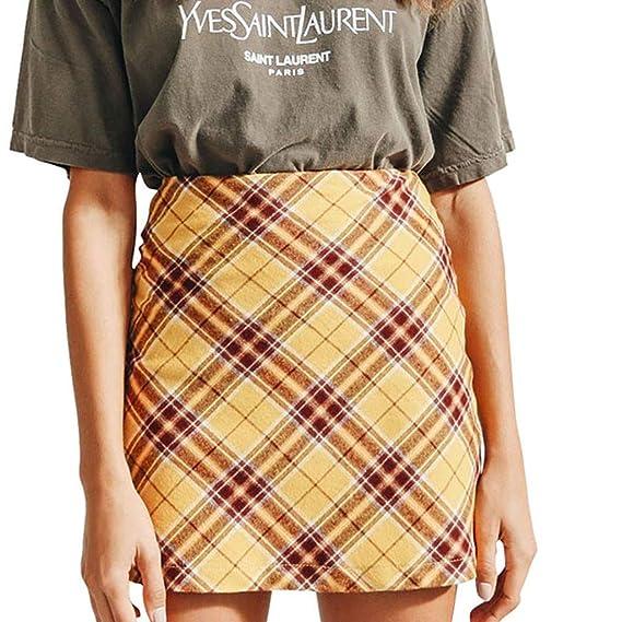 Faldas Mujer Cortas Vestidos Mujer Casual Tartán Cintura Alta Mini ...
