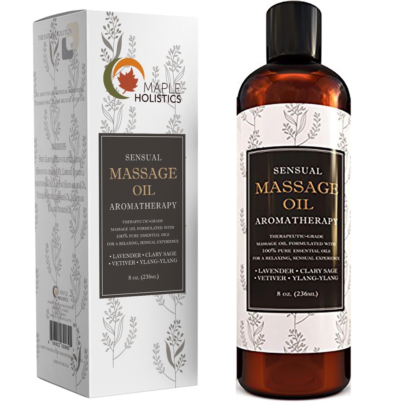 Sensual MASSAGE OIL 8-Oz NATURAL for Body Lavender Aromatherapy Aromatic Erotic