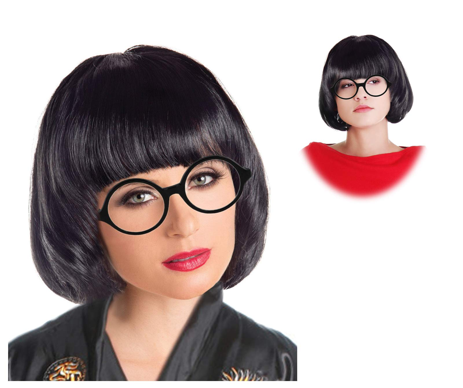 Black Mode Wig Marcie Costume Edna Costume Wig and Glasses Set Mode Wig Costume