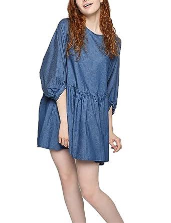 SuperLouisa Fashion jean doce vestido irregular solta das mulheres vestido vestido de baile O-pescoço
