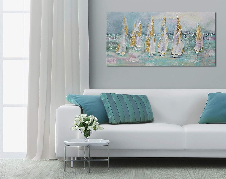 """Muro Arte Moderna Turchese Unico Mano YS-Art /""""Premium/"""" Quadro Dipinto con Colori Acrilici Barche a Vela Tela 100 x 50 cm"""