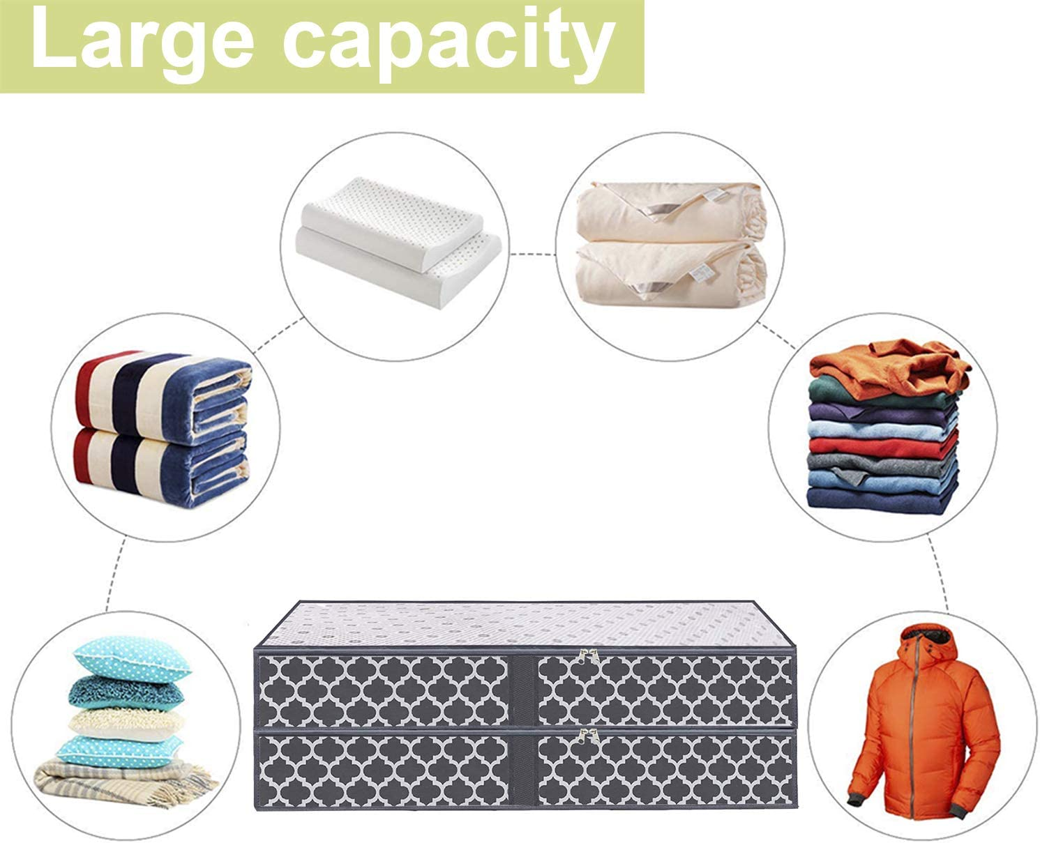 Blue with Lantern Pattern Foldable Comforters Clothes Blankets Storage Bags with Clear Plastic Lids 2 Zippers and 4 Handles Large Underbed Storage Bags Organizer Containers- 2 Pack