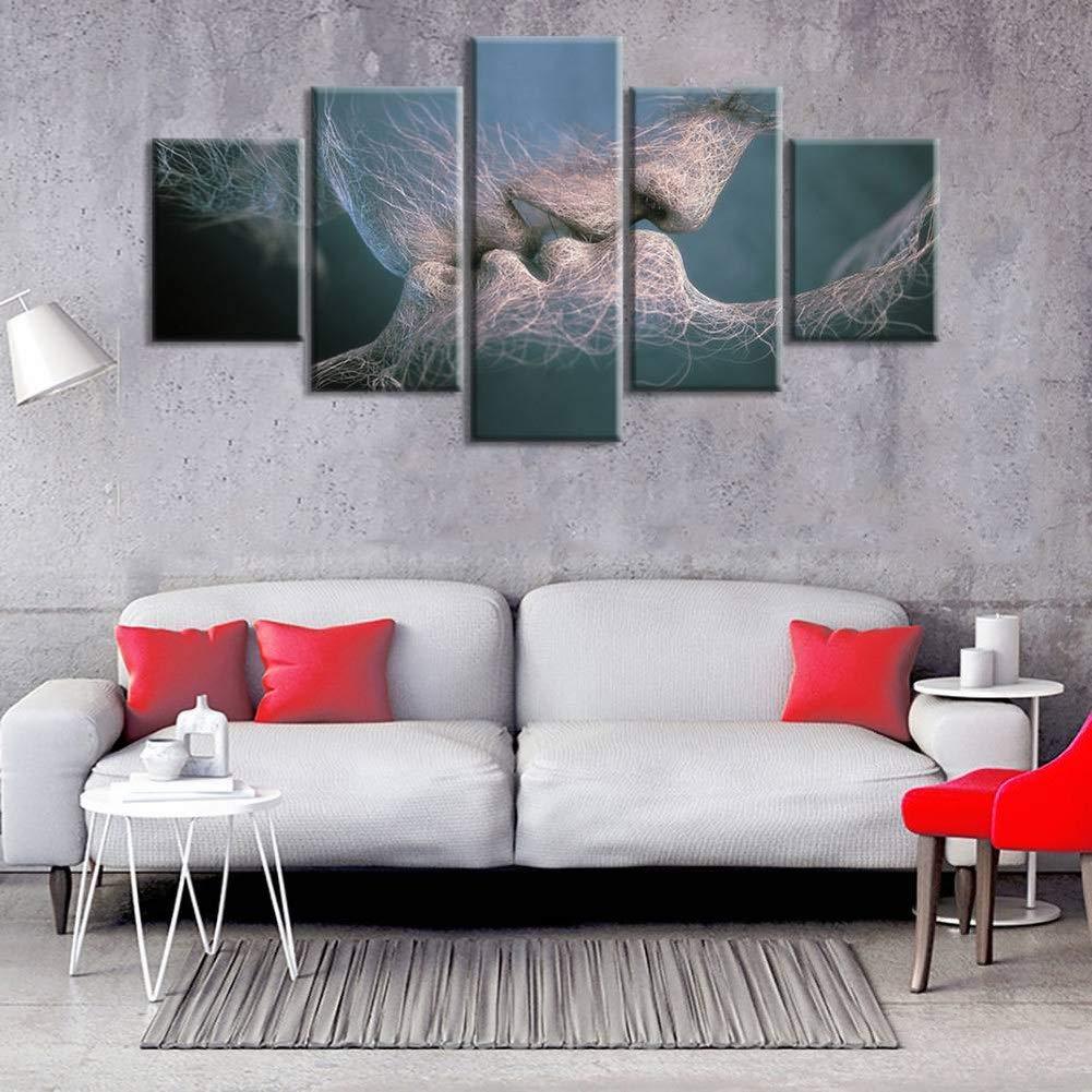 Golden_flower Kissing Couple Digital Printing 5Pcs Decorative Painting Mural Paintings