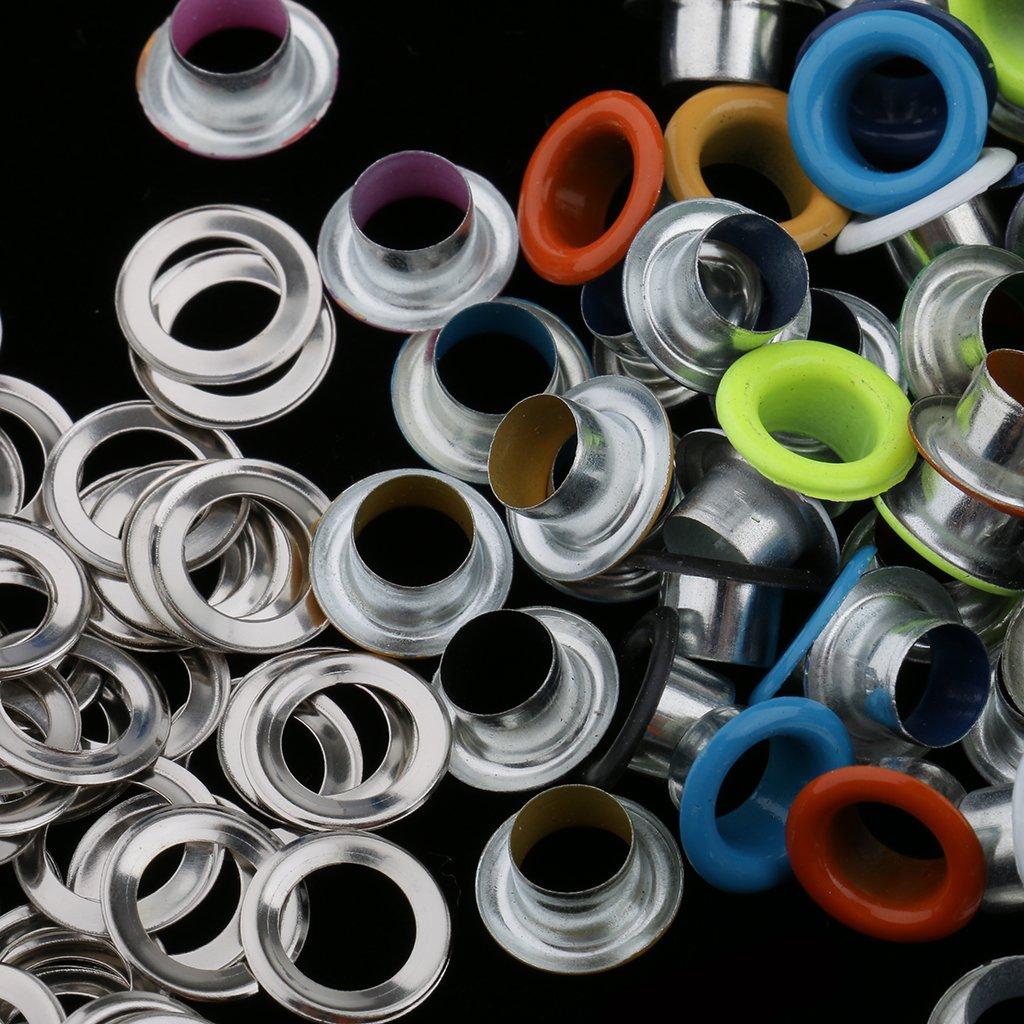 Hellery 100pcs Boucle en M/étal Doeillets pour Leathercraft Scrapbooking DIY 3mm 4.5mm 5mm 6mm 3mm