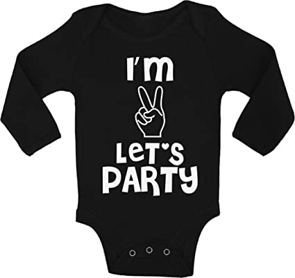 Awkward Styles Baby Im Two Lets Party Boy Girl Short Sleeve Bodysuits Tops 2nd Birthday One Piece Bodysuit