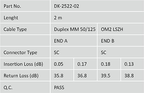 Arancione DIGITUS LWL Cavo patch OM2 Duplex Multimodale 50//125/µ 10 GBit//s LSZH Cavo in fibra ottica da LC a SC da 2 m