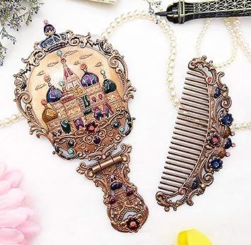 Amazon.com: Juego de peine de espejo vintage, metal y ...