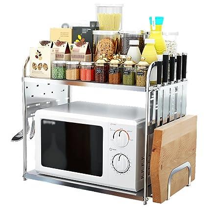 XUE Doble Capa de Acero Inoxidable de Horno de microondas Estante, Cocina extraíble Cocina Estante